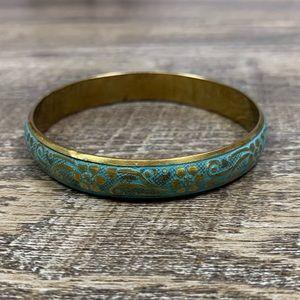 Jewelry - Antiqued Gold Aqua/Teal Bangle Bracelet